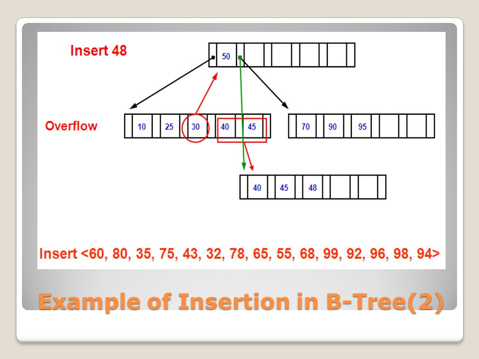 Example of Insertion in B-Tree(2)
