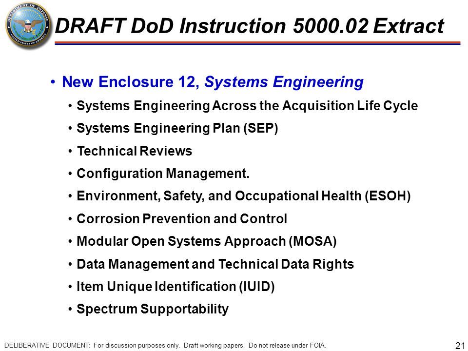 21 New Enclosure 12, Systems Engineering Systems Engineering Across the Acquisition Life Cycle Systems Engineering Plan (SEP) Technical Reviews Config