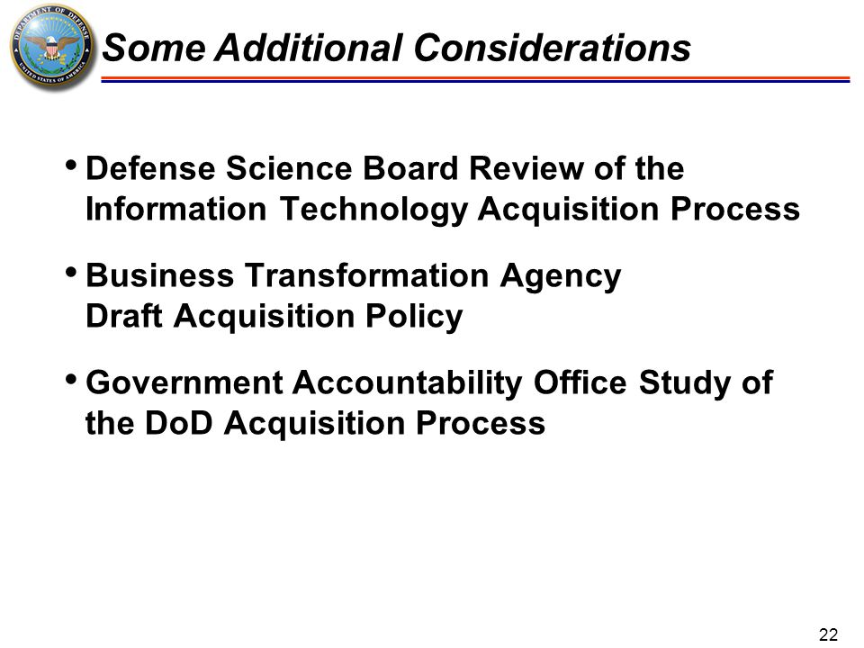 Defense Science Board Review of the Information Technology Acquisition Process Business Transformation Agency Draft Acquisition Policy Government Acco