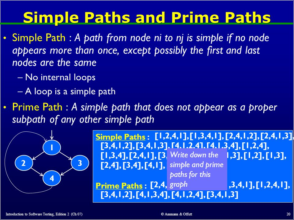Simple Paths and Prime Paths Simple Path : A path from node ni to nj is simple if no node appears more than once, except possibly the first and last nodes are the same –No internal loops –A loop is a simple path Prime Path : A simple path that does not appear as a proper subpath of any other simple path Introduction to Software Testing, Edition 2 (Ch 07) © Ammann & Offutt 20 23 1 4 Simple Paths : Prime Paths : [1,2,4,1], [1,3,4,1], [2,4,1,2], [2,4,1,3], [3,4,1,2], [3,4,1,3], [4,1,2,4], [4,1,3,4], [1,2,4], [1,3,4], [2,4,1], [3,4,1], [4,1,2], [4,1,3], [1,2], [1,3], [2,4], [3,4], [4,1], [1], [2], [3], [4] [2,4,1,2], [2,4,1,3], [1,3,4,1], [1,2,4,1], [3,4,1,2], [4,1,3,4], [4,1,2,4], [3,4,1,3] Write down the simple and prime paths for this graph