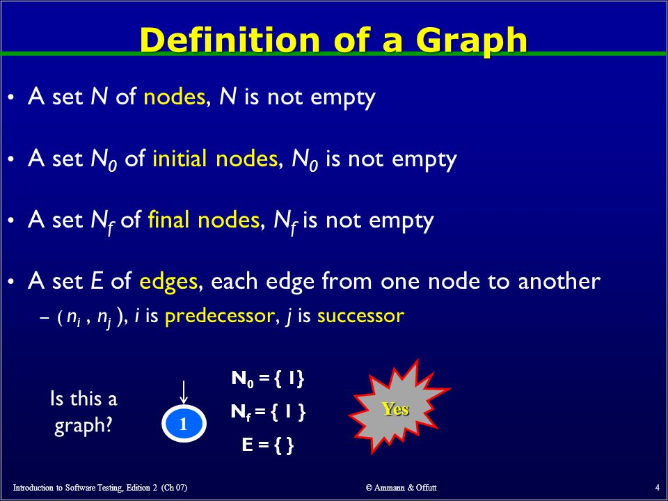 Introduction to Software Testing, Edition 2 (Ch 07) © Ammann & Offutt 4 Definition of a Graph A set N of nodes, N is not empty A set N 0 of initial nodes, N 0 is not empty A set N f of final nodes, N f is not empty A set E of edges, each edge from one node to another –( n i, n j ), i is predecessor, j is successor 1 N 0 = { 1} N f = { 1 } E = { } Is this a graph.