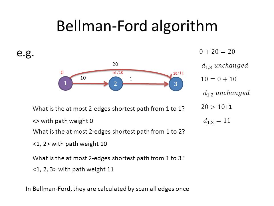 Bellman-Ford algorithm e.g. 1 2 3 10 1 What is the at most 2-edges shortest path from 1 to 1.