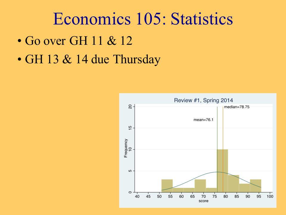 Economics 105: Statistics Go over GH 11 & 12 GH 13 & 14 due Thursday