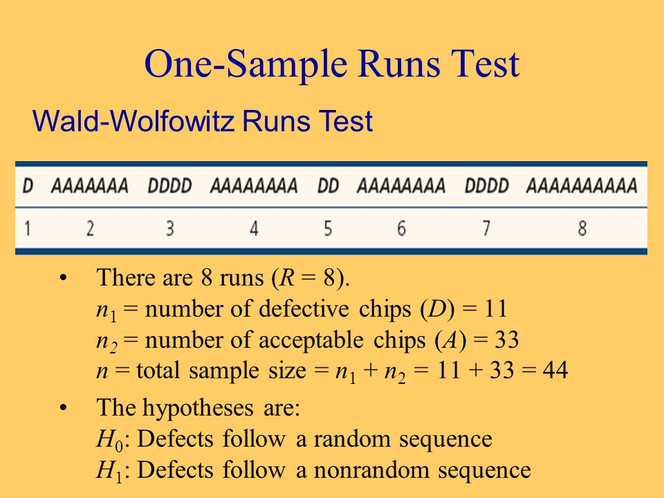 One-Sample Runs Test There are 8 runs (R = 8).