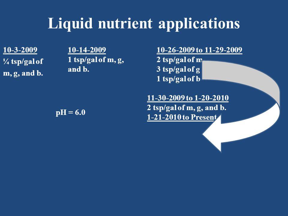 Liquid nutrient applications 10-3-2009 ¼ tsp/gal of m, g, and b.