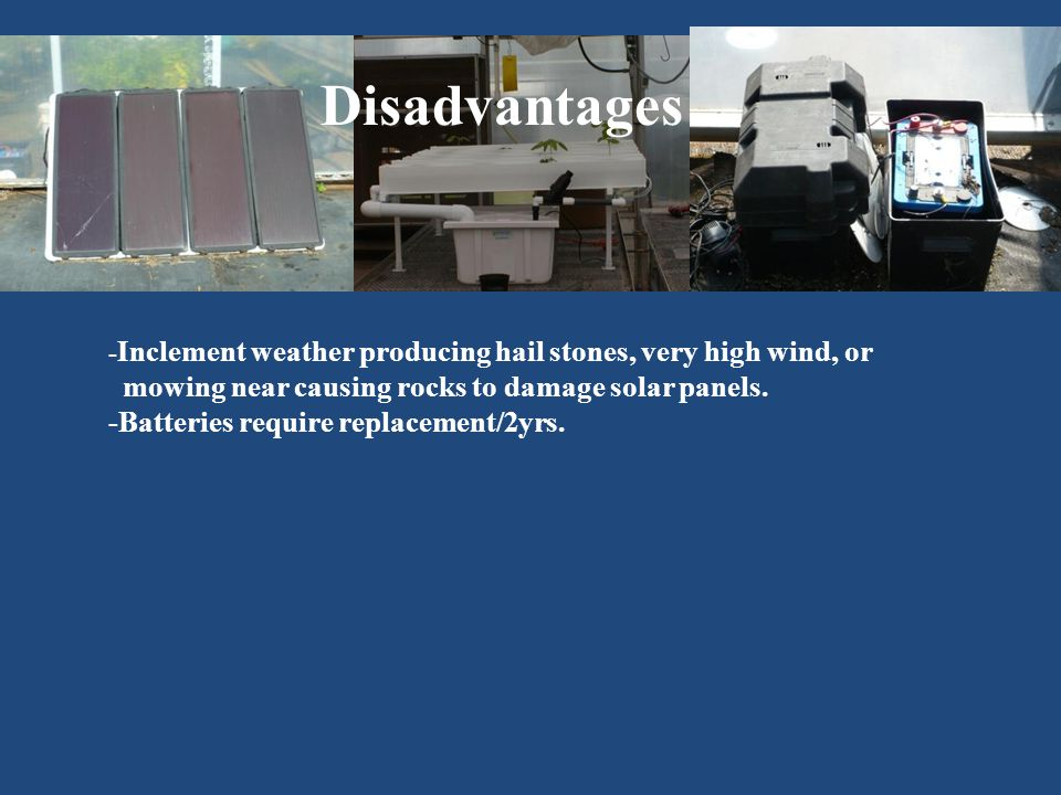 Disadvantages - Inclement weather producing hail stones, very high wind, or mowing near causing rocks to damage solar panels.