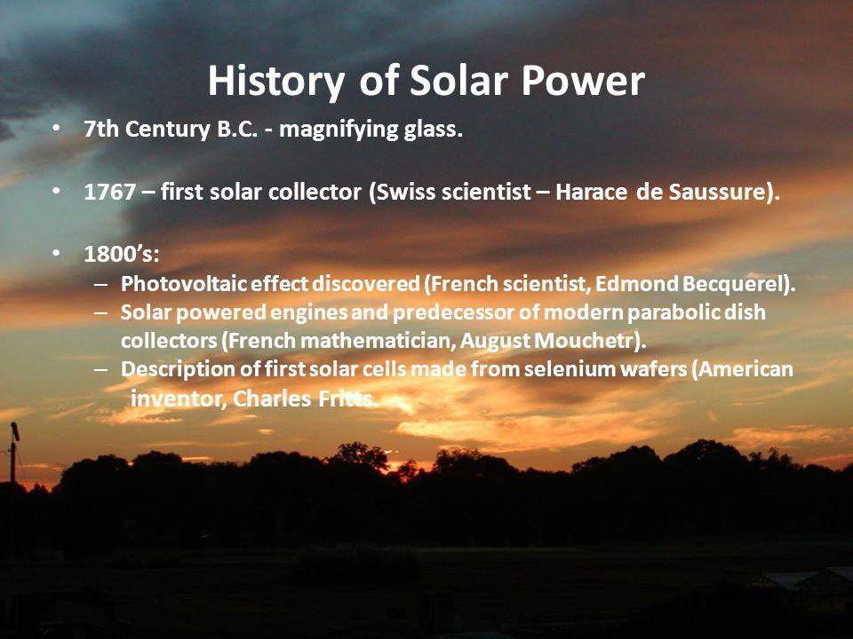 History of Solar Power 7th Century B.C. - magnifying glass.