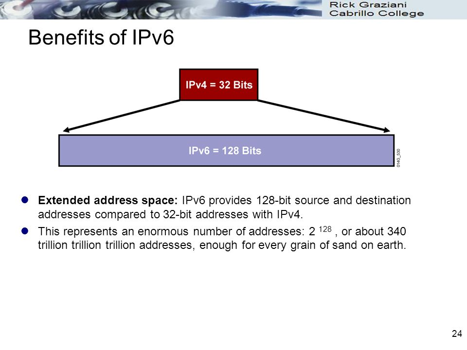 Benefits of IPv6 Extended address space: IPv6 provides 128-bit source and destination addresses compared to 32-bit addresses with IPv4. This represent
