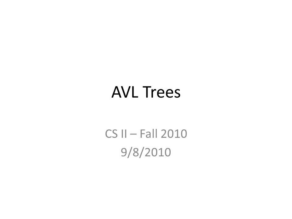 AVL Trees CS II – Fall 2010 9/8/2010