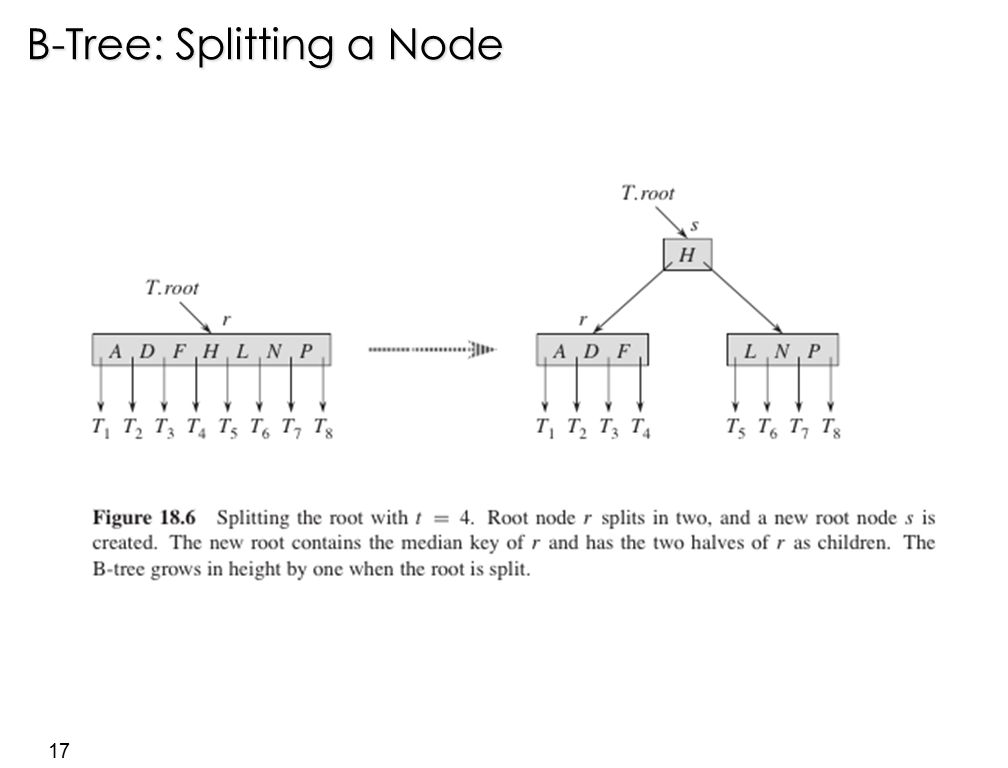 17 B-Tree: Splitting a Node