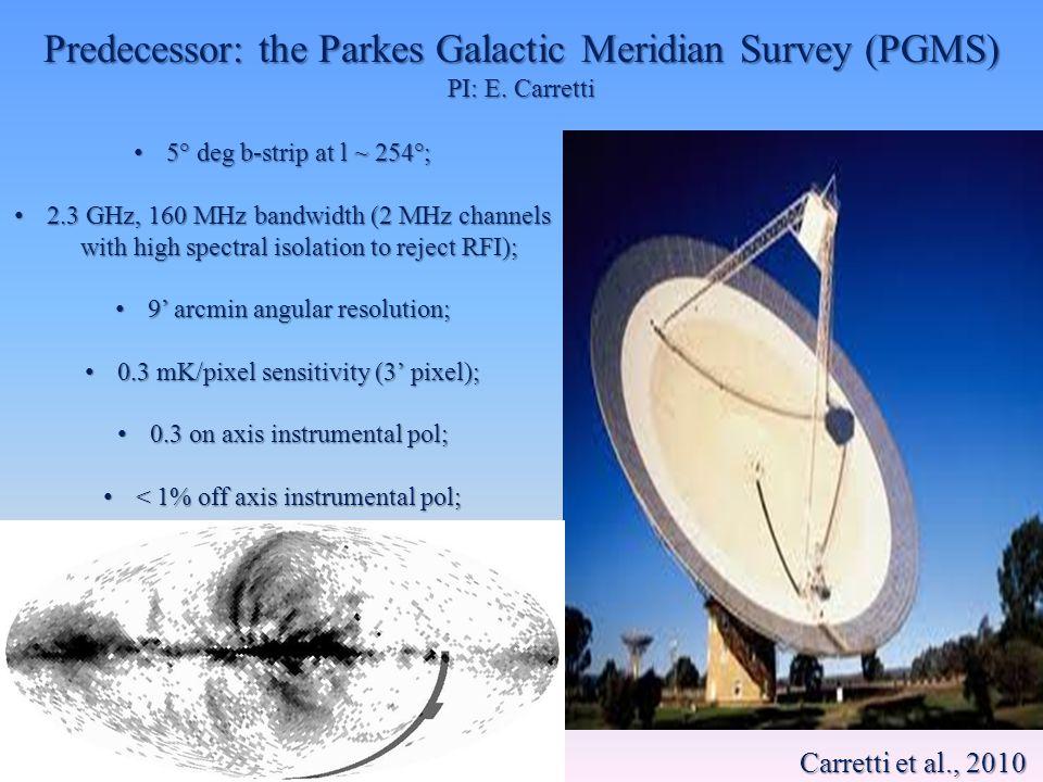Predecessor: the Parkes Galactic Meridian Survey (PGMS) PI: E. Carretti 5° deg b-strip at l ~ 254°; 5° deg b-strip at l ~ 254°; 2.3 GHz, 160 MHz bandw