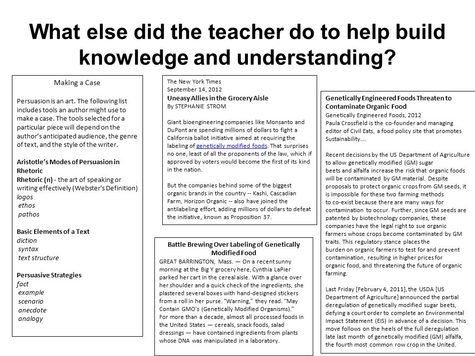 What else did the teacher do to help build knowledge and understanding.