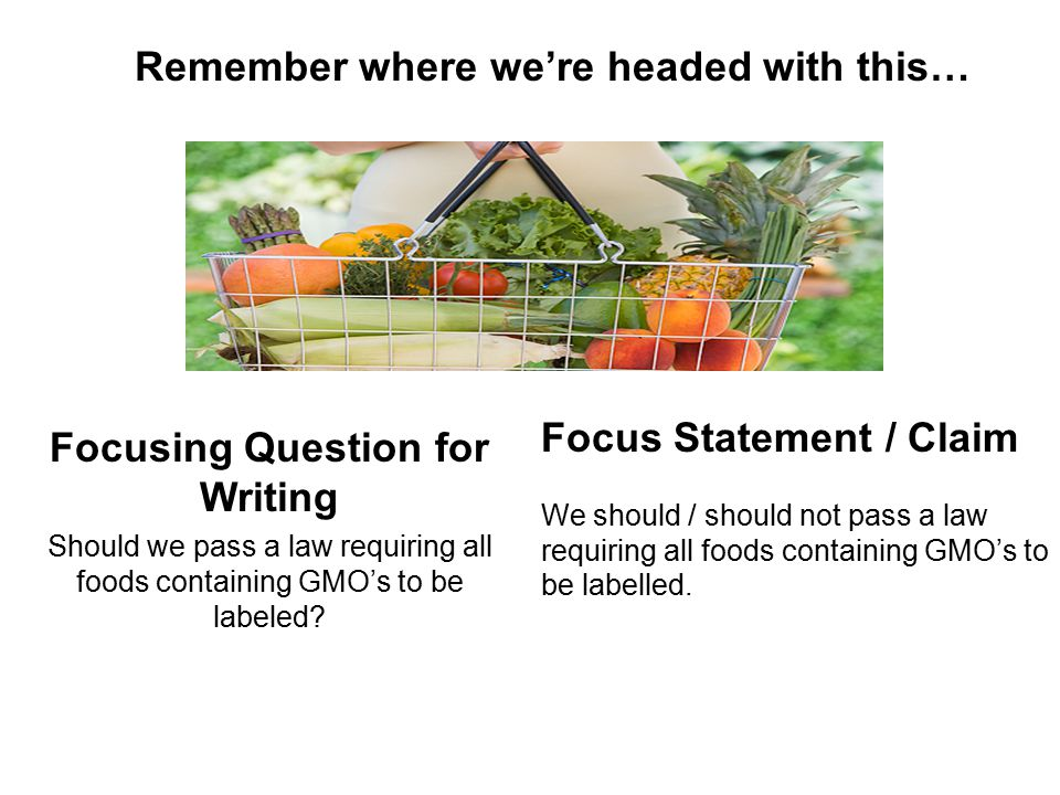 Focusing Question for Writing Should we pass a law requiring all foods containing GMO's to be labeled.