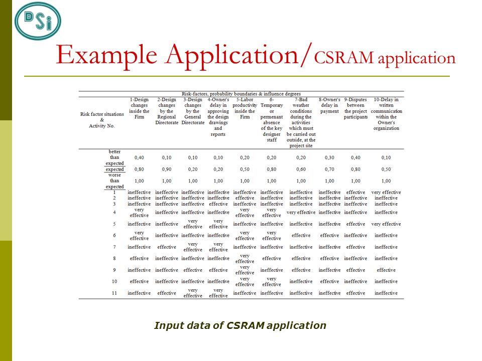 Input data of CSRAM application