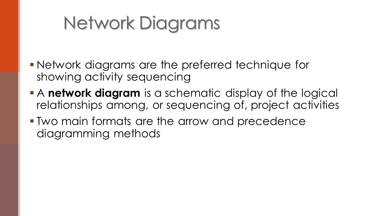  Network diagrams are the preferred technique for showing activity sequencing  A network diagram is a schematic display of the logical relationships