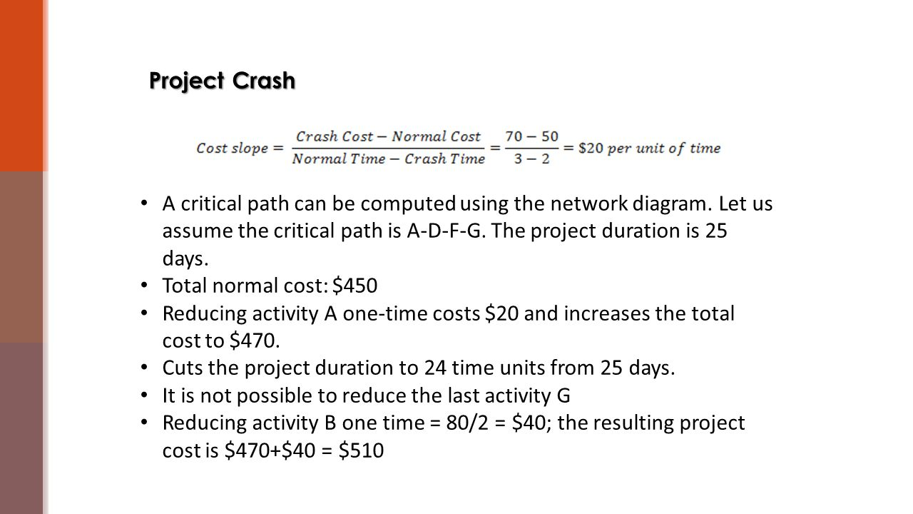 Project Crash A critical path can be computed using the network diagram. Let us assume the critical path is A-D-F-G. The project duration is 25 days.