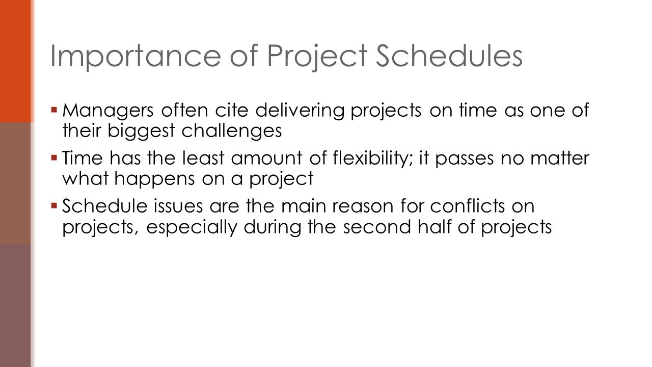  An activity list is a tabulation of activities to be included on a project schedule that includes  the activity name  an activity identifier or number  a brief description of the activity  Activity attributes provide more information such as predecessors, successors, logical relationships, leads and lags, resource requirements, constraints, imposed dates, and assumptions related to the activity Activity Lists and Attributes