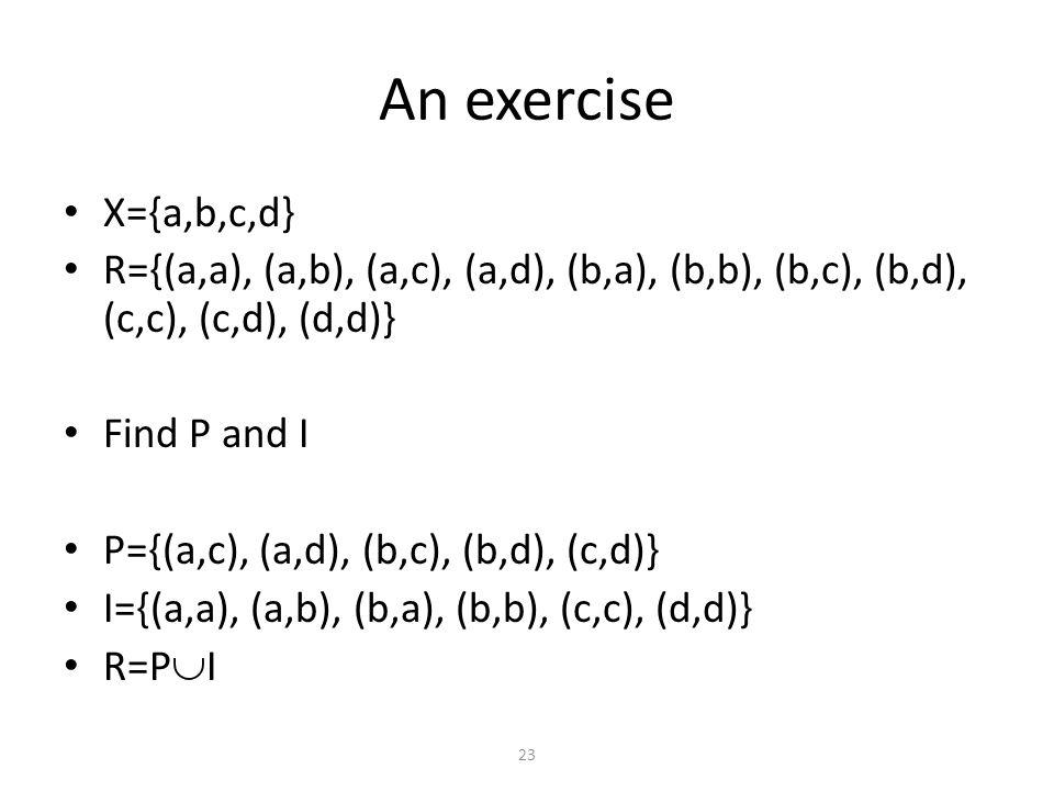X={a,b,c,d} R={(a,a), (a,b), (a,c), (a,d), (b,a), (b,b), (b,c), (b,d), (c,c), (c,d), (d,d)} Find P and I P={(a,c), (a,d), (b,c), (b,d), (c,d)} I={(a,a), (a,b), (b,a), (b,b), (c,c), (d,d)} R=P  I An exercise 23