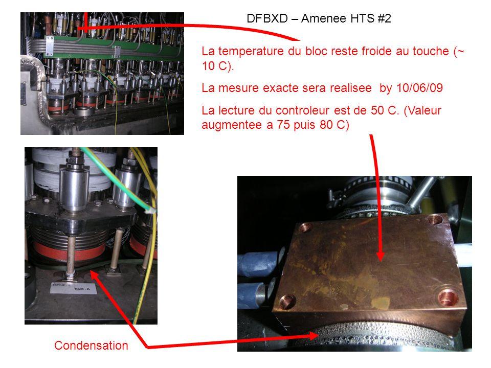 DFBXD – Amenee HTS # 2 Tests realises le 8 Juin 2009 EH893 consigne augmentee de 50 C a 75 C EH893 consigne augmentee de 75 C a 80 C CV891 lachee en regulation SP : TT891=50 K CV891 – SP: TT891=70K