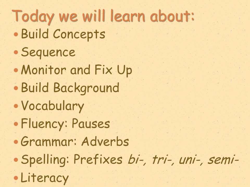 Today we will learn about: Dictionary/Glossary Sequence Monitor and Fix Up Setting Vocabulary Fluency: Choral Reading Grammar: Adverbs Spelling: Prefixes bi-, tri-, uni-, semi- Social Studies: Baghdad Islam Literacy