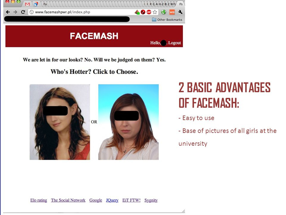 2 BASIC ADVANTAGES OF FACEMASH: - Easy to use - Base of pictures of all girls at the university