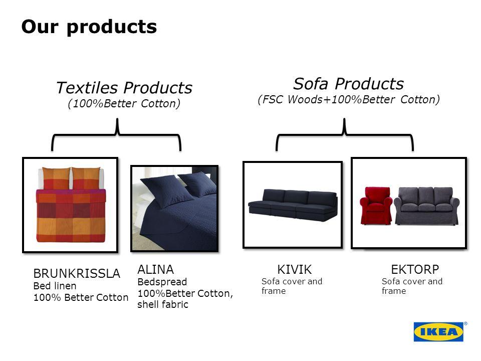 BRUNKRISSLA Bed linen 100% Better Cotton ALINA Bedspread 100%Better Cotton, shell fabric KIVIK Sofa cover and frame EKTORP Sofa cover and frame Textil