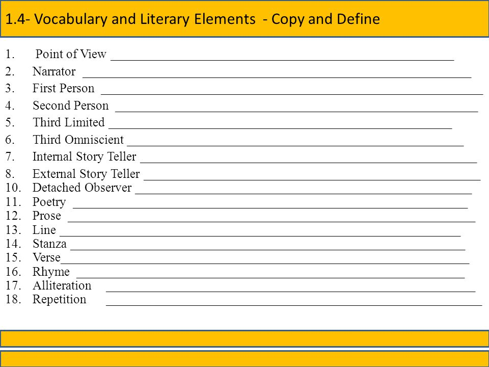 1.4- Vocabulary and Literary Elements - Copy and Define 1.