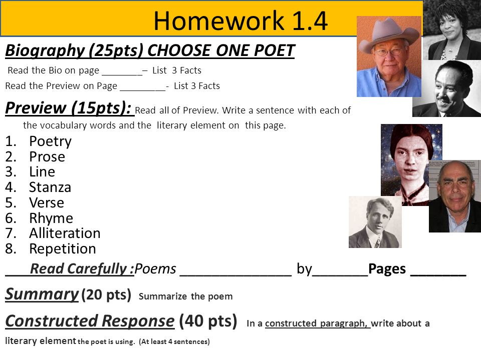 Homework 1.4 Biography (25pts) CHOOSE ONE POET Read the Bio on page ________– List 3 Facts Read the Preview on Page _________- List 3 Facts Preview (15pts): Read all of Preview.