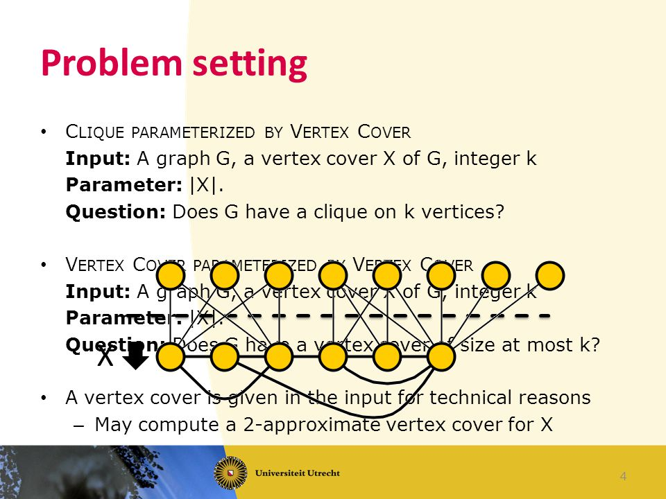 Problem setting C LIQUE PARAMETERIZED BY V ERTEX C OVER Input: A graph G, a vertex cover X of G, integer k Parameter: |X|.