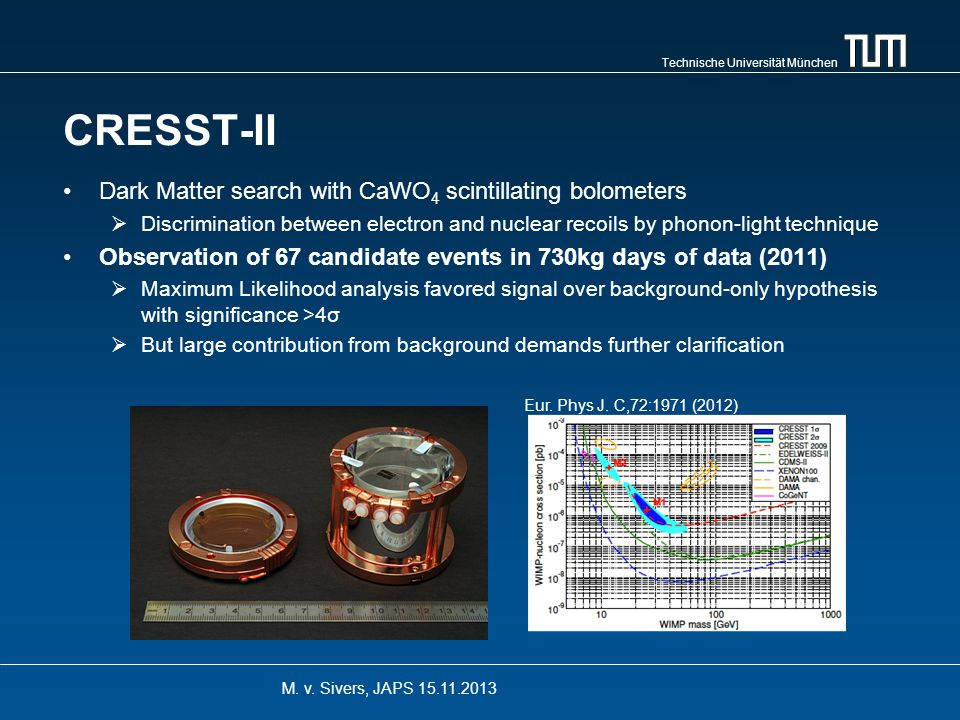 Technische Universität München CRESST-II New run started July 2013  Detector mass doubled  Improved background situation due to cleaner materials and new detector designs Analysis for double beta processes and low-threshold Dark Matter analysis ongoing M.