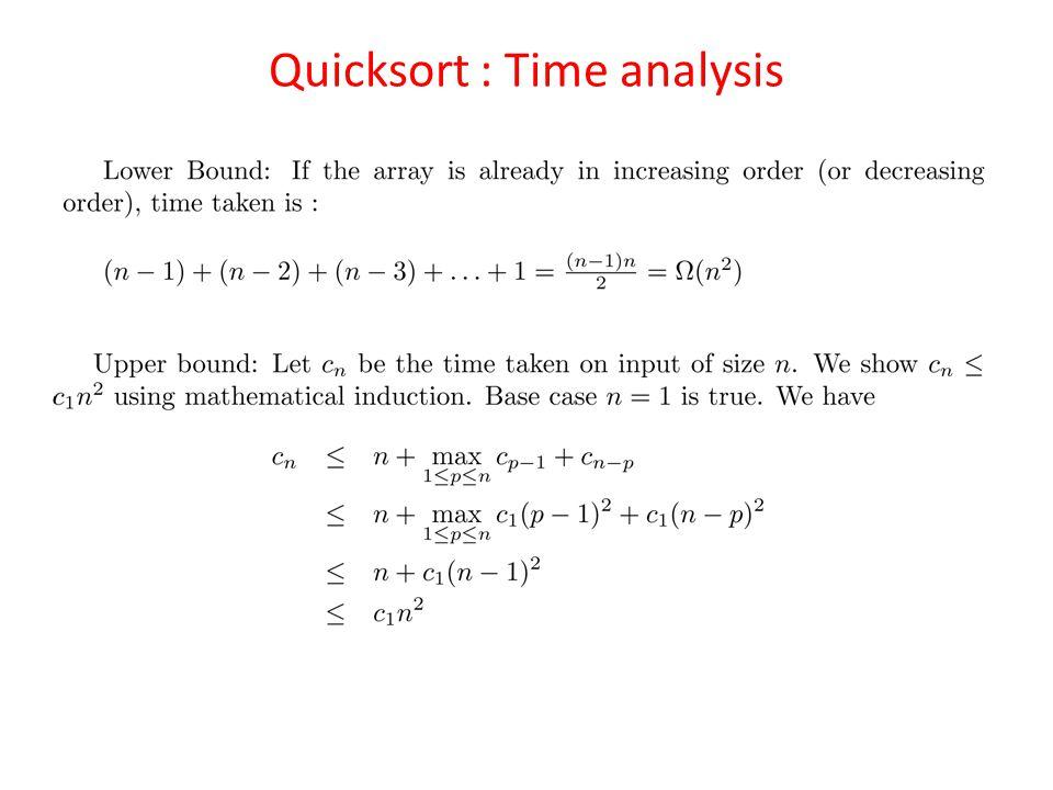 Quicksort : Time analysis