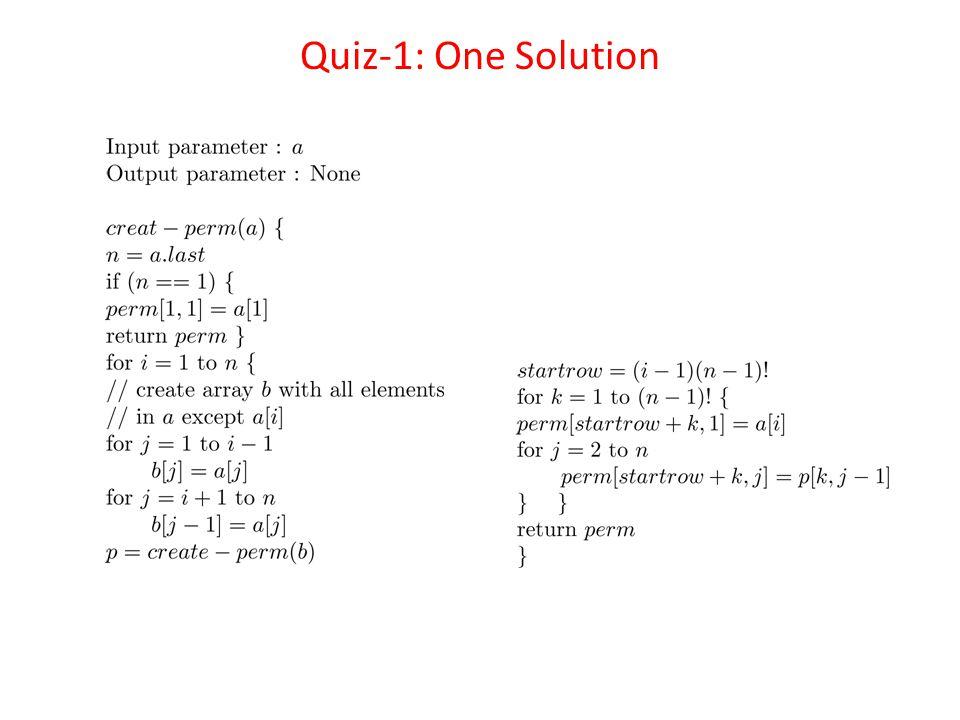 Quiz-1: One Solution