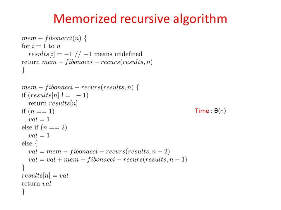 Memorized recursive algorithm Time : θ(n)