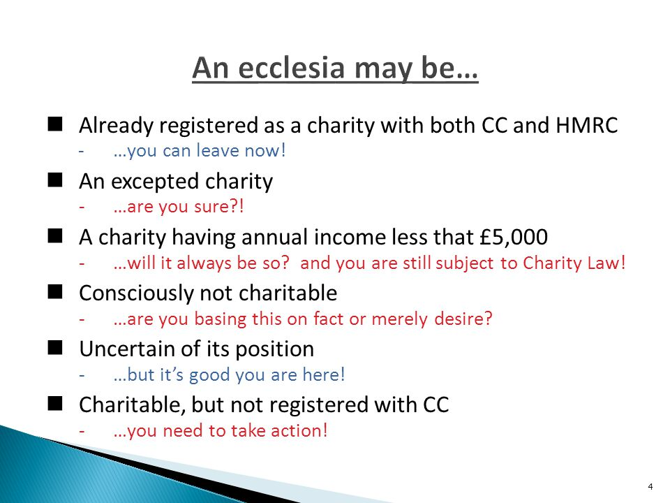 In order to register with CC an ecclesia will need to complete an online application – document CC21b - www.gov.uk/how-to-register-your-charity- cc21b The online application can be completed in stages with the information input to date being saved at the end of each session The application must not be left inactive for 90 days otherwise the information input will be lost Before starting the application you will want to have available the following items...