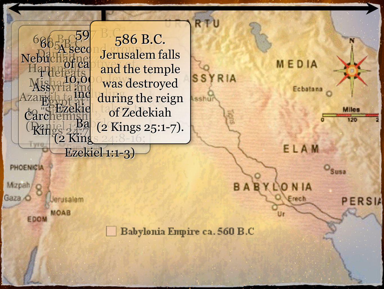6 606 B.C. Daniel, Hananiah, Mishael & Azariah taken to Shinar (Daniel 1:1) 605 B.C.