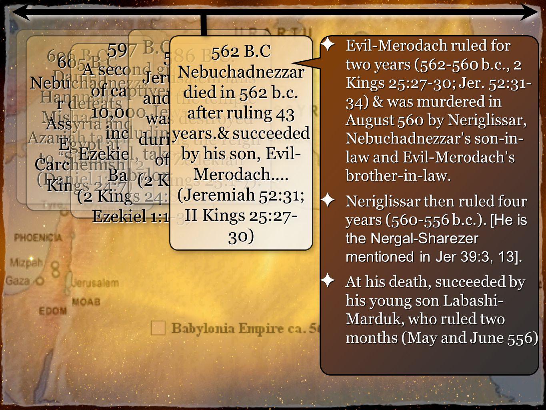 7 606 B.C. Daniel, Hananiah, Mishael & Azariah taken to Shinar (Daniel 1:1) 605 B.C.