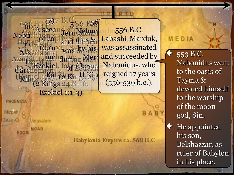 8 606 B.C. Daniel, Hananiah, Mishael & Azariah taken to Shinar (Daniel 1:1) 605 B.C.