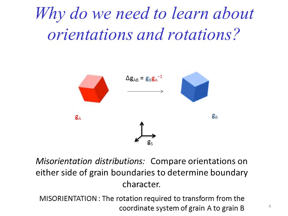 Why do we need to learn about orientations and rotations? Misorientation distributions: Compare orientations on either side of grain boundaries to det