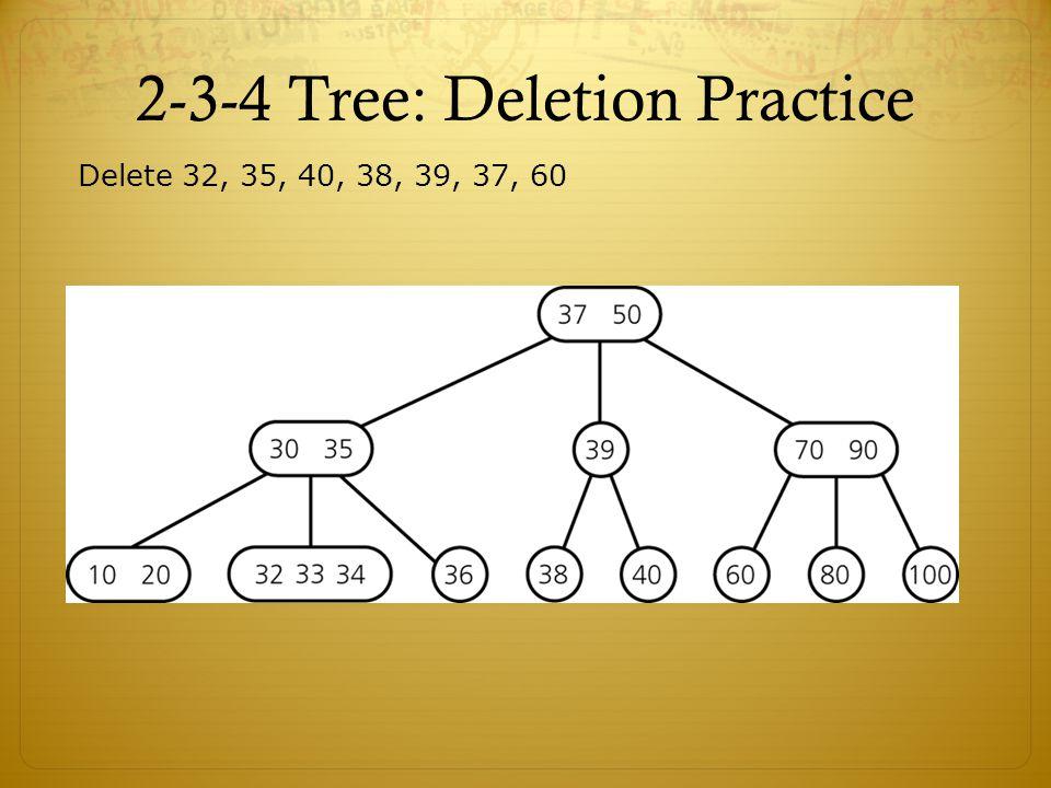 2-3-4 Tree: Deletion Practice Delete 32, 35, 40, 38, 39, 37, 60
