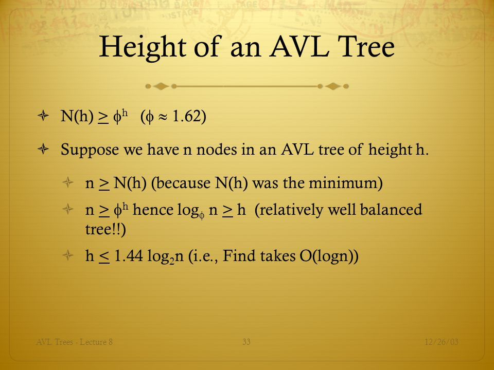 12/26/03AVL Trees - Lecture 833 Height of an AVL Tree  N(h) >  h (   1.62)  Suppose we have n nodes in an AVL tree of height h.