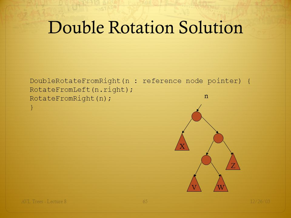 12/26/03AVL Trees - Lecture 865 Double Rotation Solution DoubleRotateFromRight(n : reference node pointer) { RotateFromLeft(n.right); RotateFromRight(n); } X n VW Z