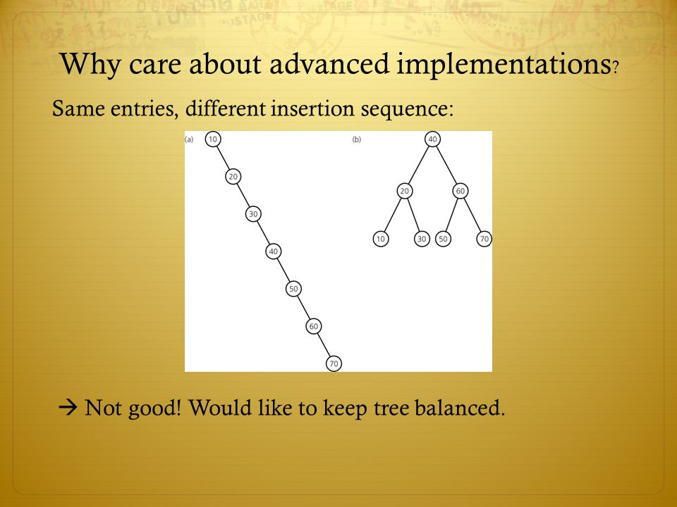 Why care about advanced implementations .Same entries, different insertion sequence:  Not good.