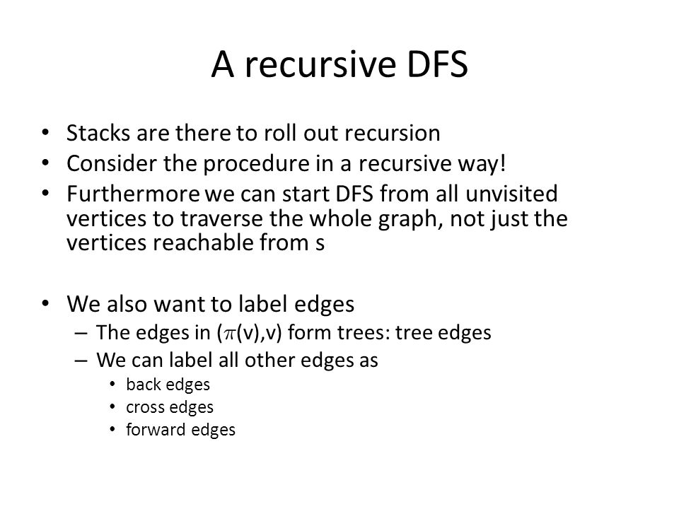 A recursive DFS Stacks are there to roll out recursion Consider the procedure in a recursive way.