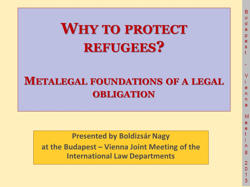 Budapest- Vienna Meeting 2013Budapest- Vienna Meeting 2013 W HY TO PROTECT REFUGEES .