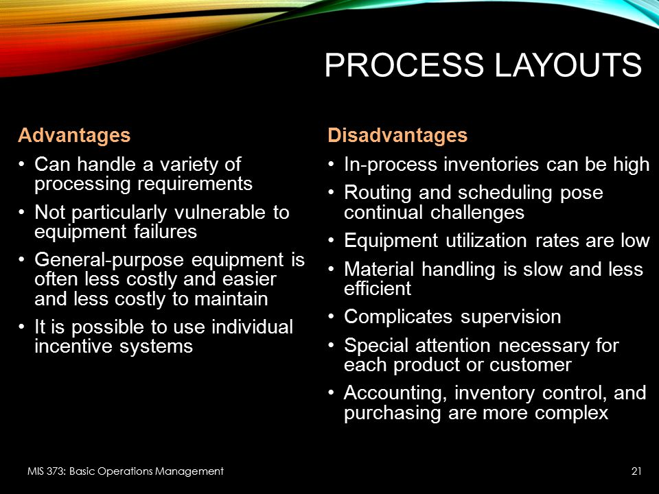 PROCESS LAYOUTS Advantages Can handle a variety of processing requirements Not particularly vulnerable to equipment failures General-purpose equipment