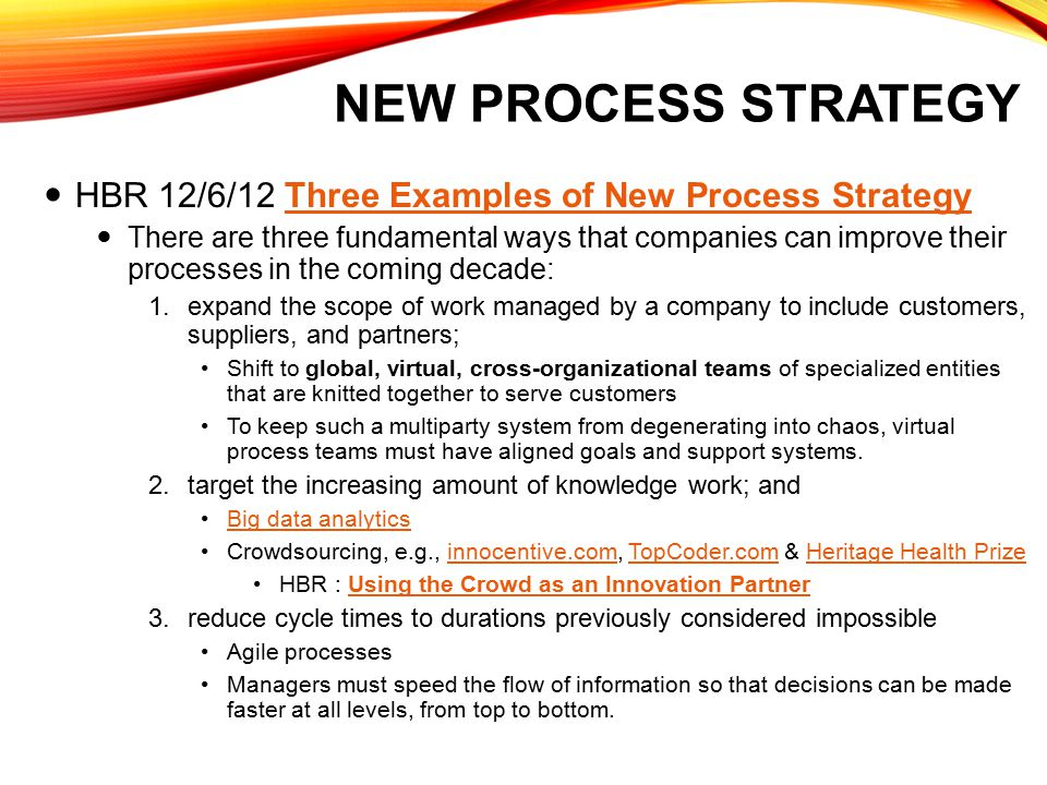 NEW PROCESS STRATEGY HBR 12/6/12 Three Examples of New Process StrategyThree Examples of New Process Strategy There are three fundamental ways that co