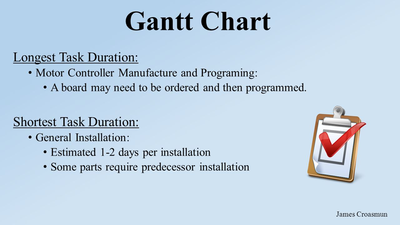Gantt Chart Longest Task Duration: Motor Controller Manufacture and Programing: A board may need to be ordered and then programmed.