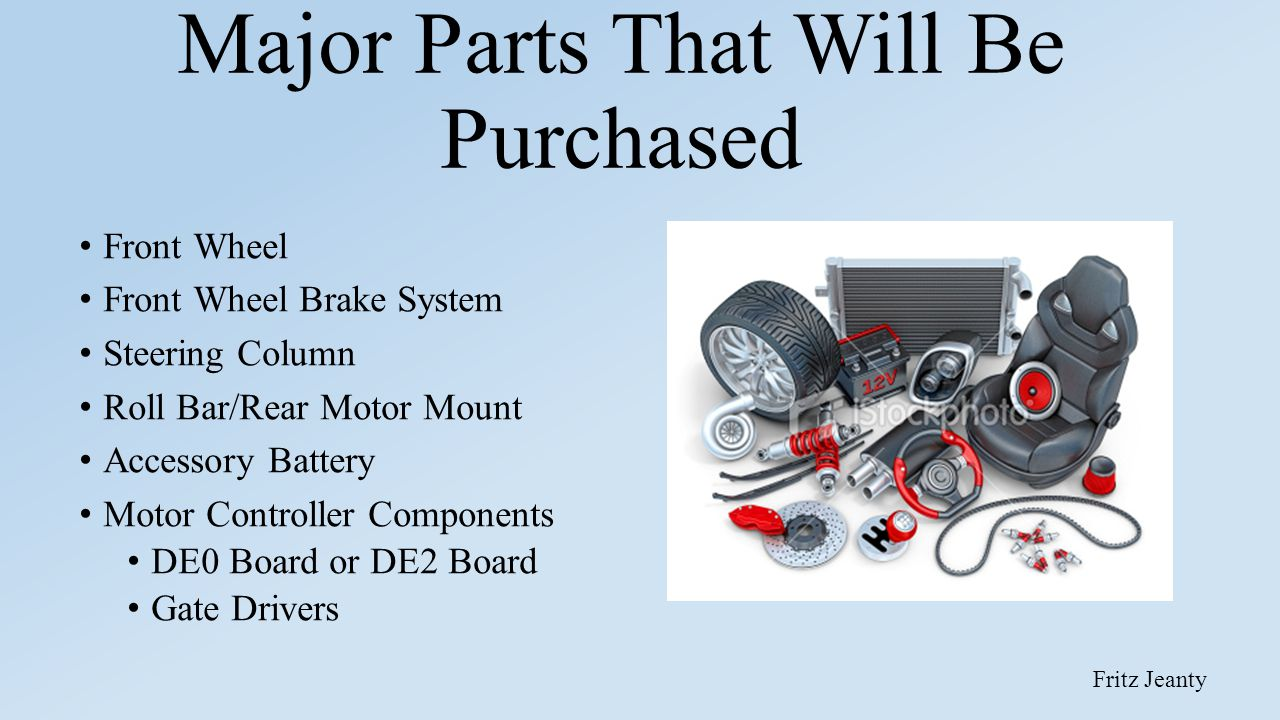 Major Parts That Will Be Purchased Front Wheel Front Wheel Brake System Steering Column Roll Bar/Rear Motor Mount Accessory Battery Motor Controller C