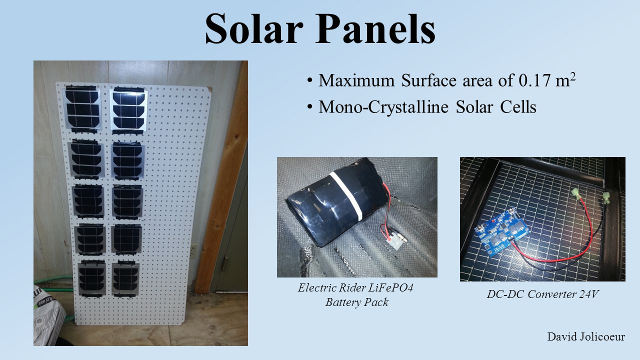 Solar Panels Maximum Surface area of 0.17 m 2 Mono-Crystalline Solar Cells Electric Rider LiFePO4 Battery Pack DC-DC Converter 24V David Jolicoeur