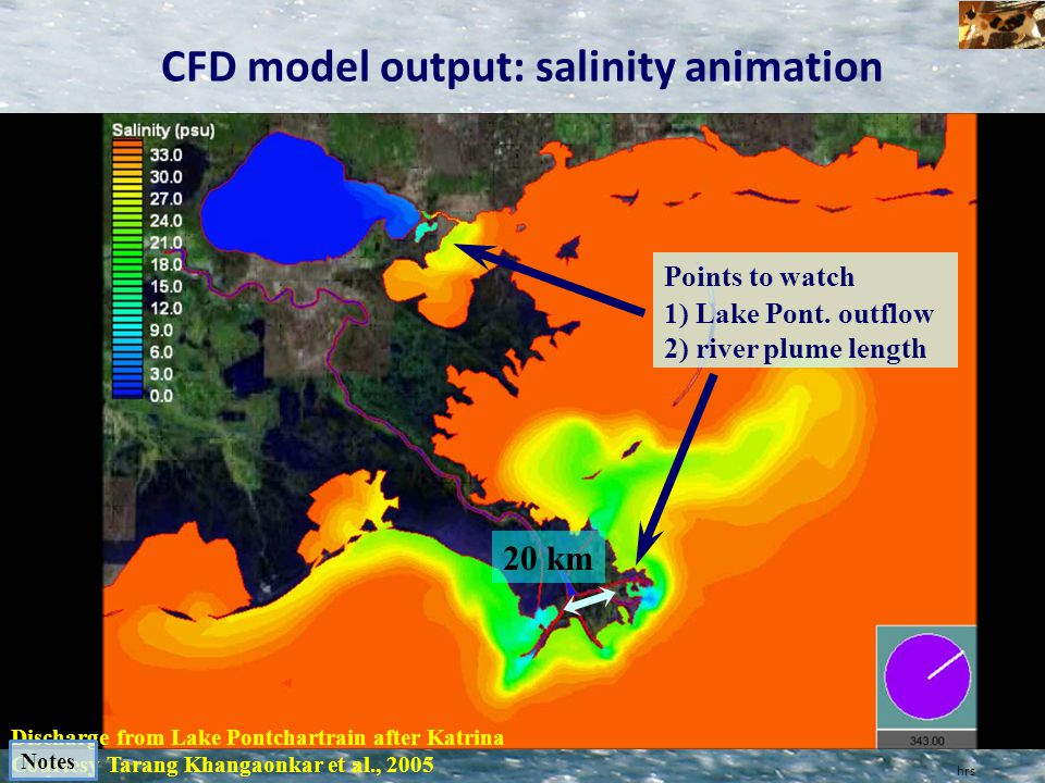 hrs CFD model output: salinity animation Discharge from Lake Pontchartrain after Katrina Courtesy Tarang Khangaonkar et al., 2005 Points to watch 1) L